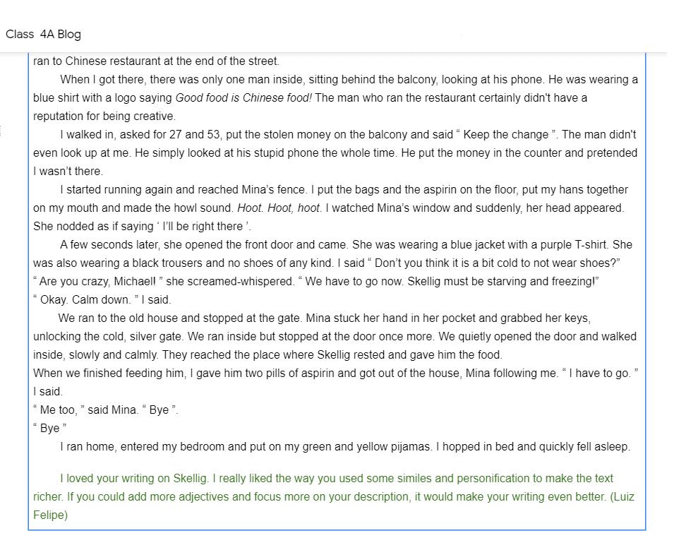 Class 4A Blog Example